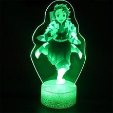 Démon tueur 3D LED veilleuse Kimetsu No Yaiba Kamado Tanjirou Kamado Nezuko Table bureau lampe décoration Lampara enfant noël cadeaux