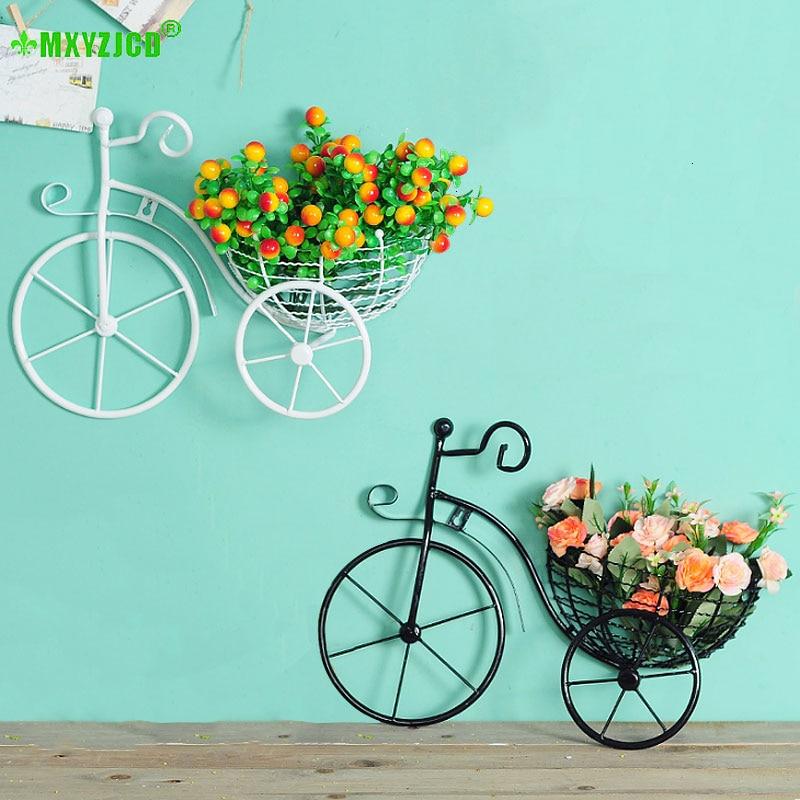 سلة زهور معلقة على الحائط للدراجة من الحديد المطاوع ، حاوية ترتيب الزهور ، ديكور منزلي ، زخرفة فنية