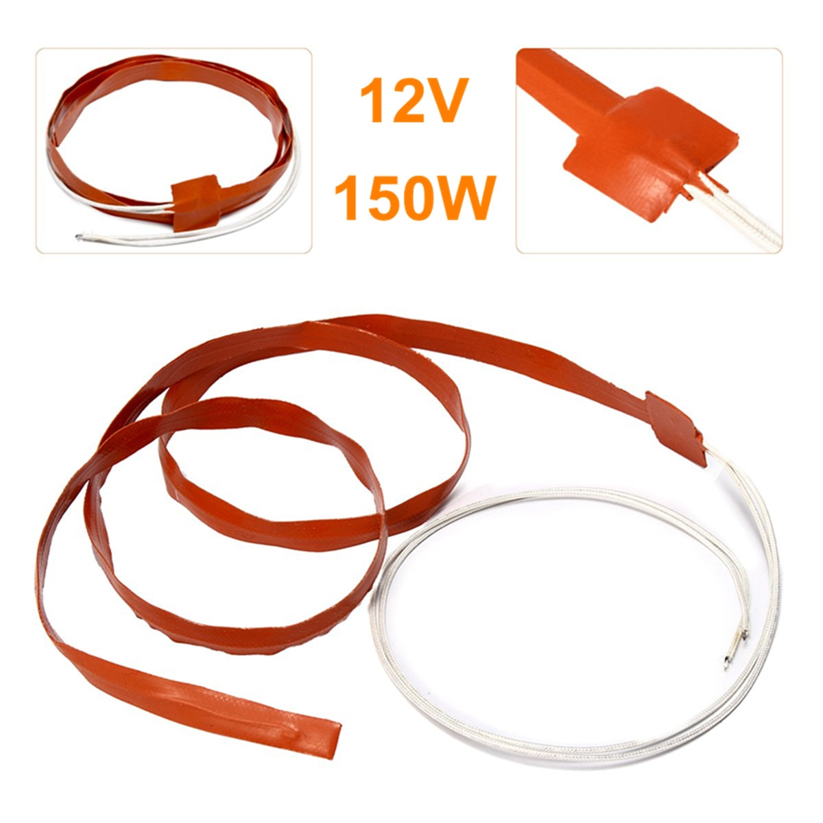 Almohadillas eléctricas de calor de 150W 12V, calentador de silicona de 1200x12mm, tira de calentamiento térmico, tira de calentador de línea Flexible, correa de calentador para inyector calentado