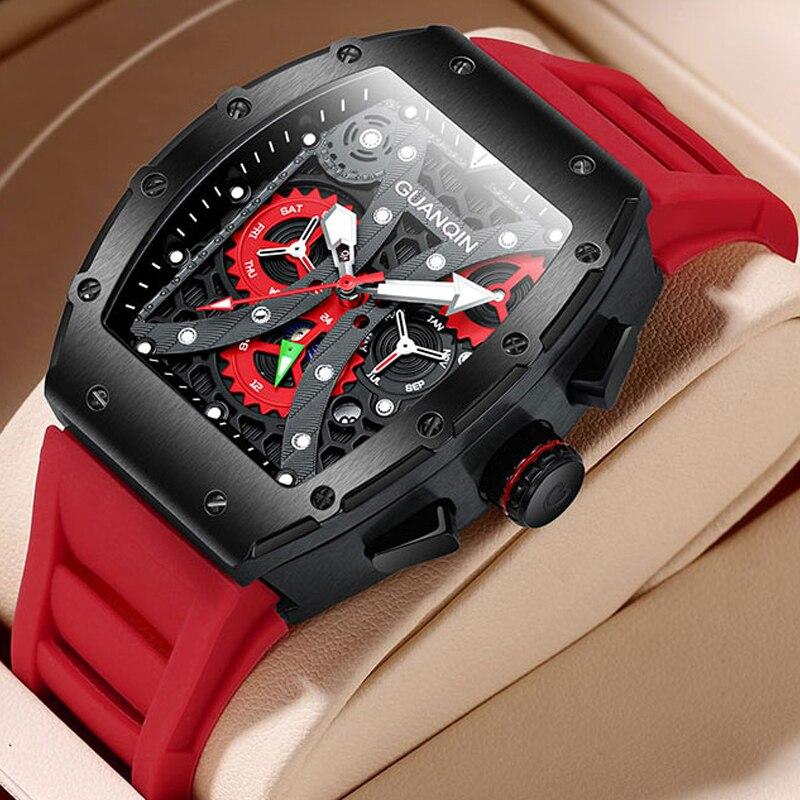 أفضل العلامات التجارية ساعة أوتوماتيكية الرجال حركة الميكانيكية الجمجمة ساعة الياقوت برميل الطلب القمر المرحلة تاريخ يوم شهر سيليكون حزام