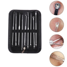 9Pcs Facial Acne Blackhead Remover Needles Extractor Pimple Blemish Comedone Removal Kit Double Head
