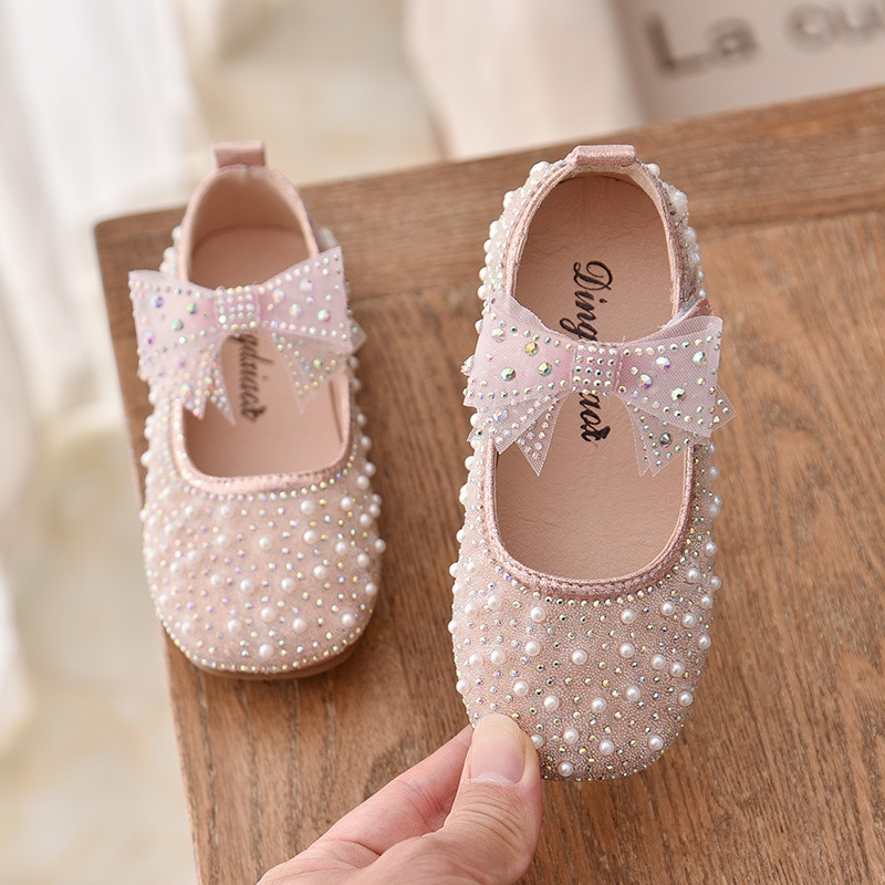 New Girls Single Princess Shoes Pearl Shallow Children's Flat Shose Kid Baby Bowknot Shoes 2021 Spring Autumn B207