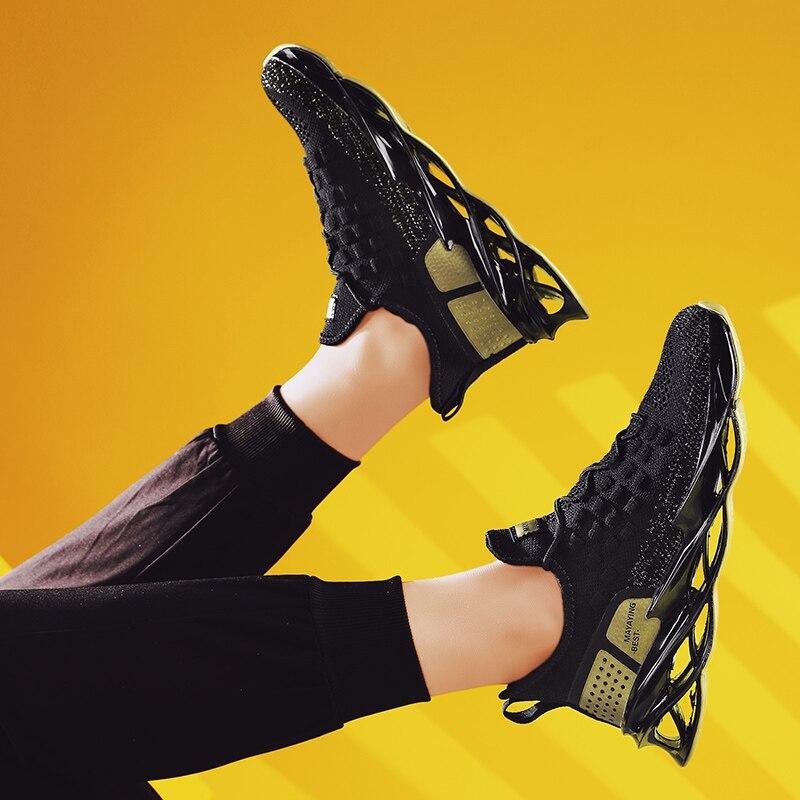 Tênis preto e respirável masculino, sapato esportivo casual de outono com cadarço para homens