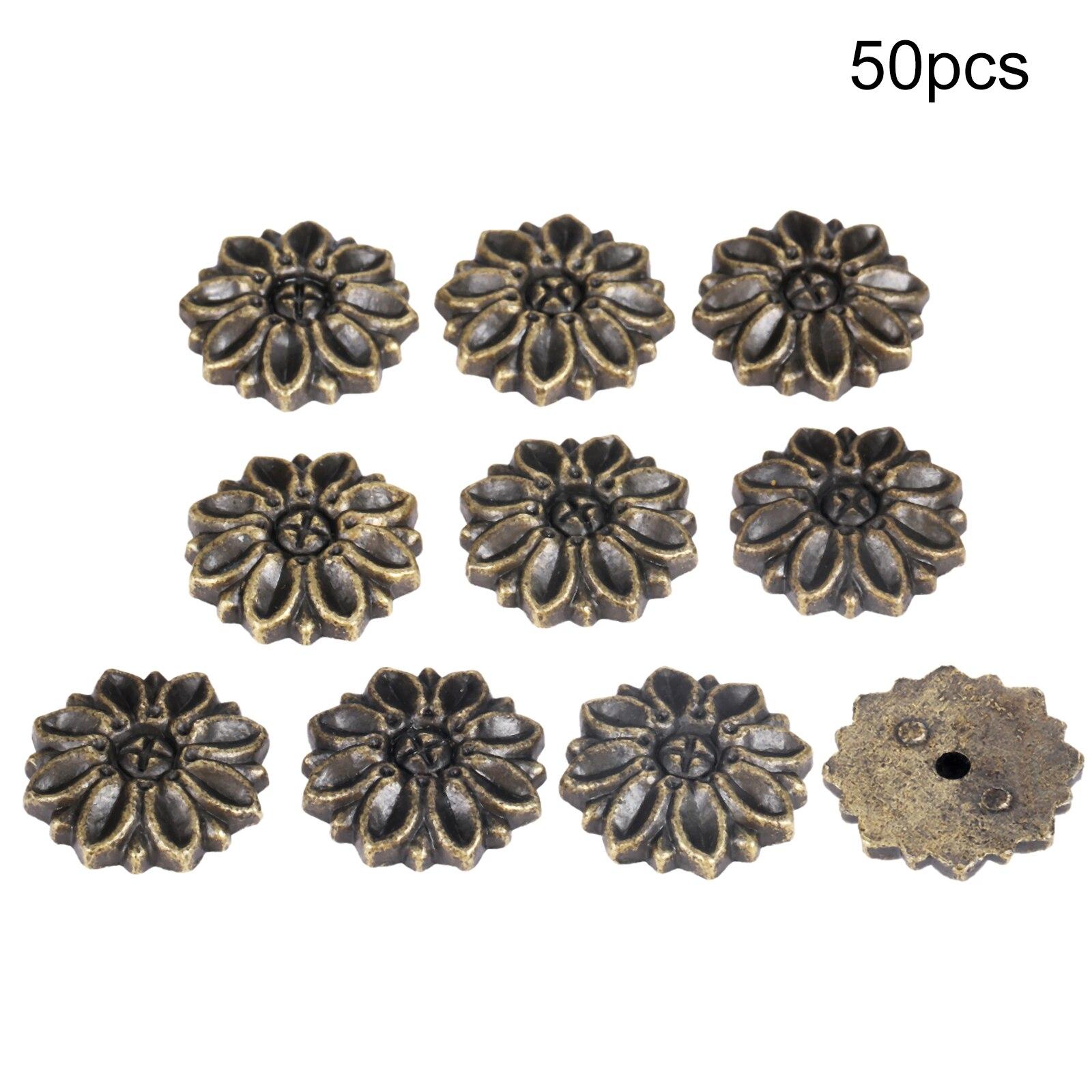 50 шт цинковый сплав цветок Декоративные протекторы угловой кронштейн украшение для скрапбукинга лампы мебельные гвозди Tacks планшеты 23*5 мм