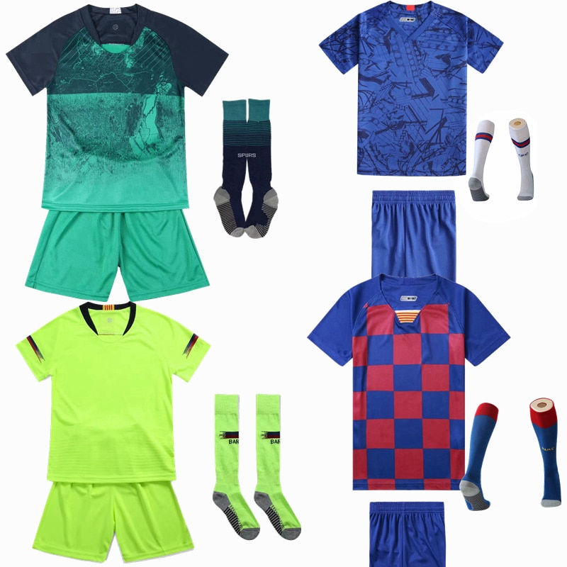 Kids Soccer Football Jerseys Blank Custom Suit With Socks Boys Survetemen Team Training Uniforms Print DIY Football Shirt Shorts
