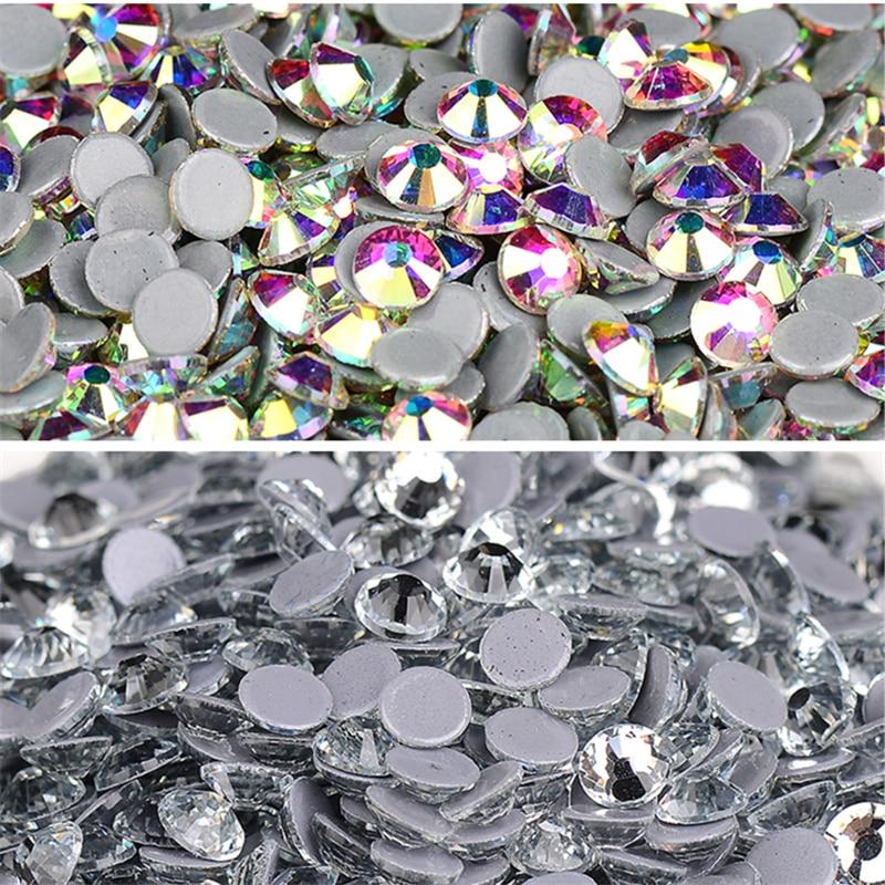 AAAAA Quality Flatback all sizes  Crystal AB Hot Fix Rhinestones, Glass Strass Hotfix Iron On Rhinestones For Fabric garment