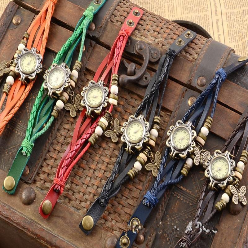 2019 Women Casual Vintage Multilayer Butterfly Faux Leather Bracelet Ladies Wrist Watch Handmade Bra