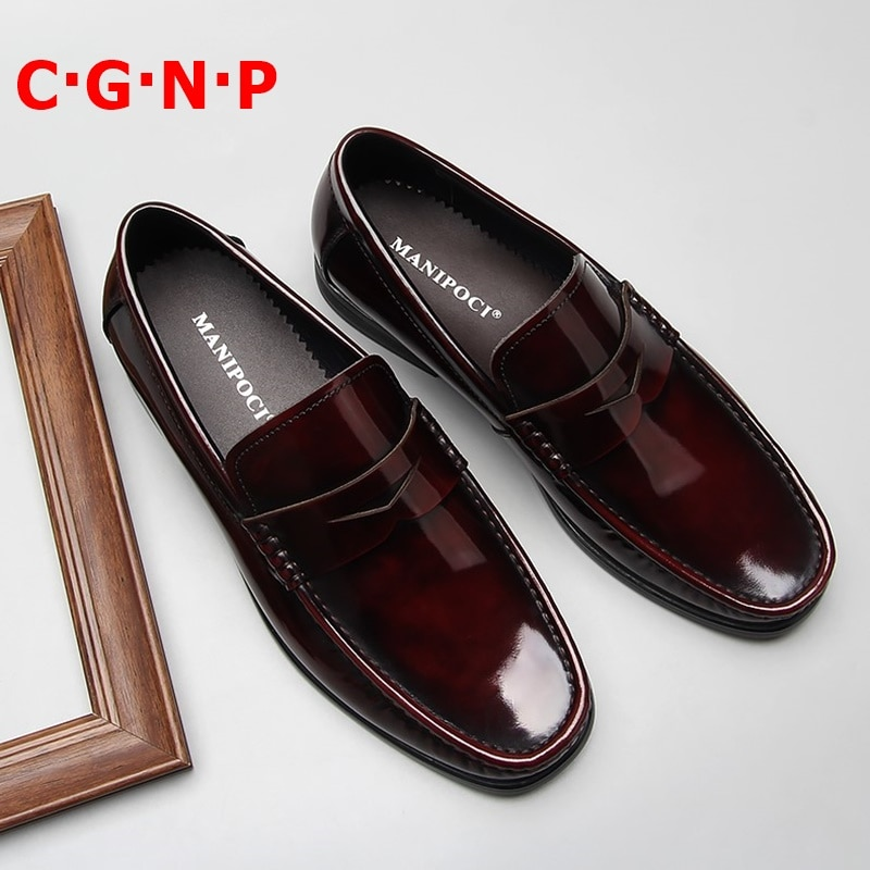 C·G·N·P New Arrival Wine-red Patent Leather Loafers Men British Style Casual Shoes Slip On Dress Breathable Mens Boat Shoe