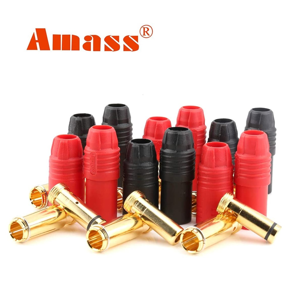 Youme 6pairs Amass AS150 Male Female Anti Spark Connector Gold Plated Banana Plug Set for Battery ESC Charge Lead for RC Drone