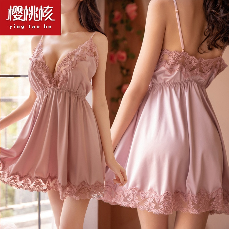 New European And American Pure Lovely Satin Loose Thin Sweet Home Wear Foreign Trade Sexy Suspender Nightdress Women suspender nightdress women s summer thin pure cotton lovely little girl s nightdress summer cartoon print dress sub panel plaid