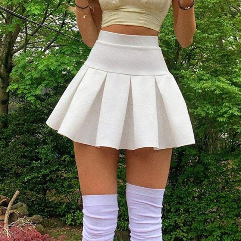تنورة عالية الخصر للسيدات من Kywommnz تنورة قصيرة عصرية ذات لون سادة ملابس شارع ضيقة · تنورة قصيرة بطيات جديدة على شكل حرف a لصيف 2021 E3071