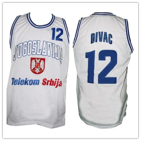 Vlade Divac #12 Jugoslavija Yugoslavia bule White Basketball Jersey Mens Stitched Custom Any Number Name