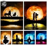 Kits de peinture de diamant au clair de lune romantique pour adultes  amoureux doux  mosaique de paysage 5D  perceuse complete  broderie pour decoration de maison