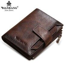 ManBang 2020 nouveau 100% en cuir véritable hommes portefeuille porte-monnaie petit porte-cartes mâle portefeuille poche court portefeuille