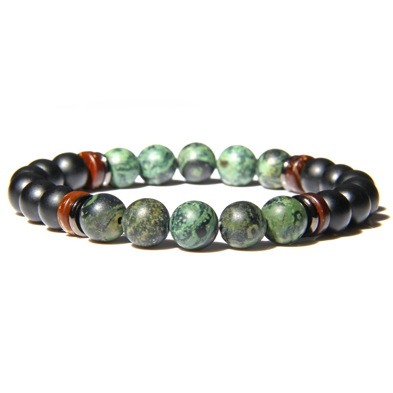 Vintage Men Bracelet Natural New Polar Jades Bead Tibetan Buddha  Bracelet Matte Black Onyx Stone Bracelet for Women Men Jewelry
