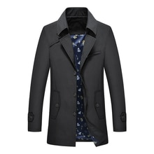 Thoshine Brand Spring Summer Men Trench Thin High Quality Buttons Male Fashion Outerwear Jackets Win
