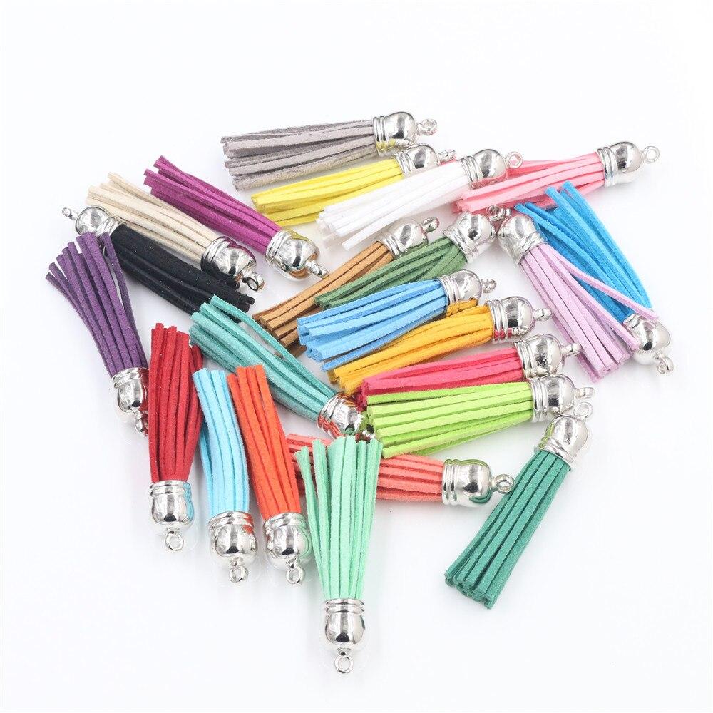 (20 pcs/lot) 55mm mélange couleurs longueur daim gland pour porte-clés téléphone portable sangles sacs à main sacs à dos bijoux Charms-M7-15