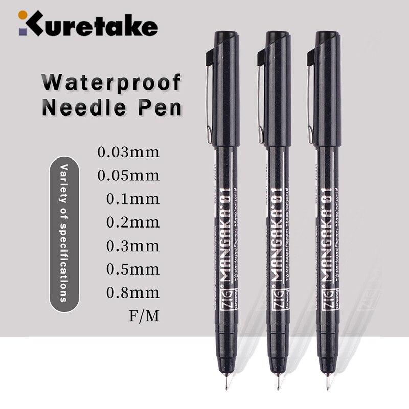 kuretake-pluma-de-aguja-con-linea-de-gancho-impermeable-boligrafos-de-dibujo-de-dibujos-animados-linea-de-trazo-de-diseno-arquitectonico-003-005-01-02-03-05-08-f-m