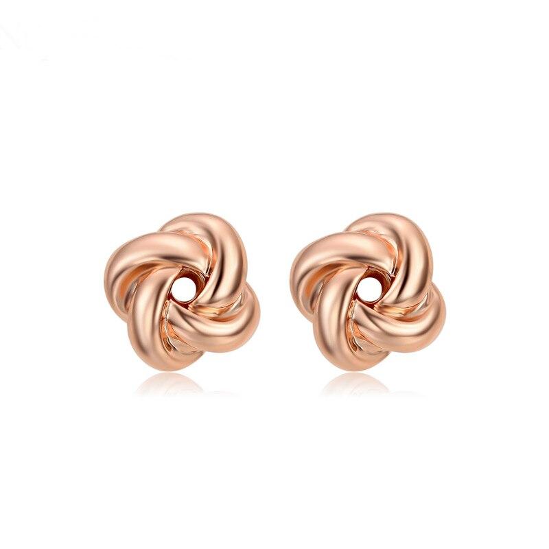 Huitan New Trendy Geometric Rose Gold Color Women Stud Earrings Wholesale Lots&Bulk Special Gift For Girlfriend Simple