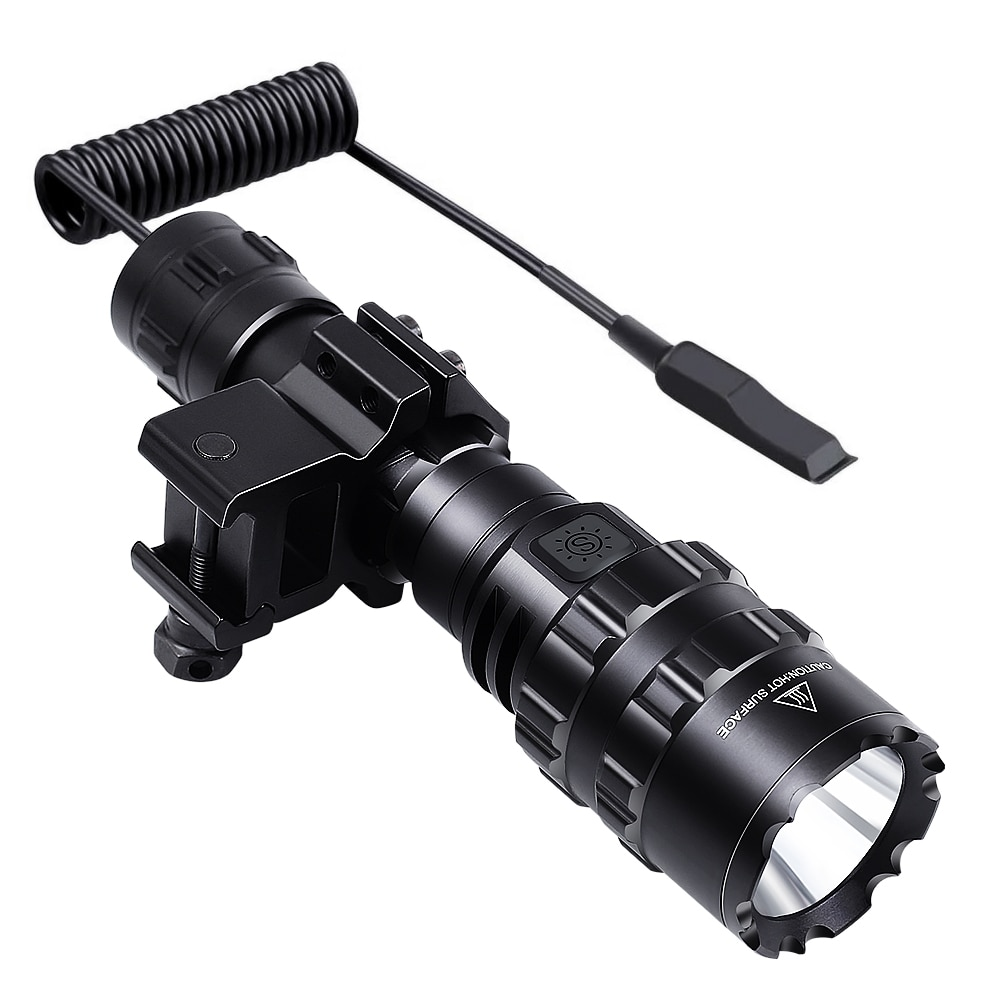 Tactical Flashlight 1600 Lumen with Flashlight Mount Clip + Rechargeable Battery + Remote Switch Out