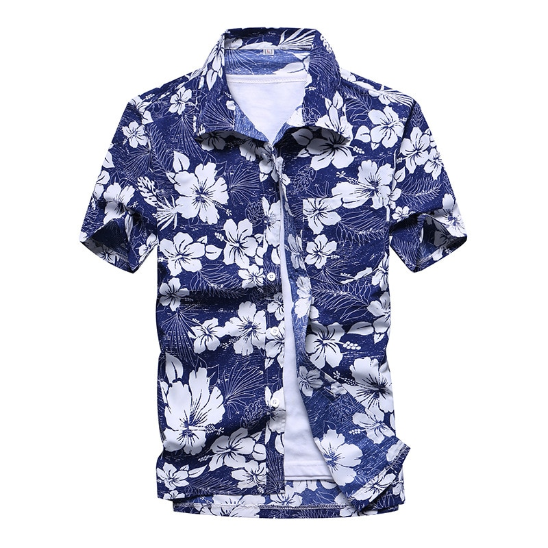 De moda remera Hawaiana para Hombre Casual colorido impreso playa camisetas Aloha manga corta de talla grande 5XL Camisa Hawaiana Hombre