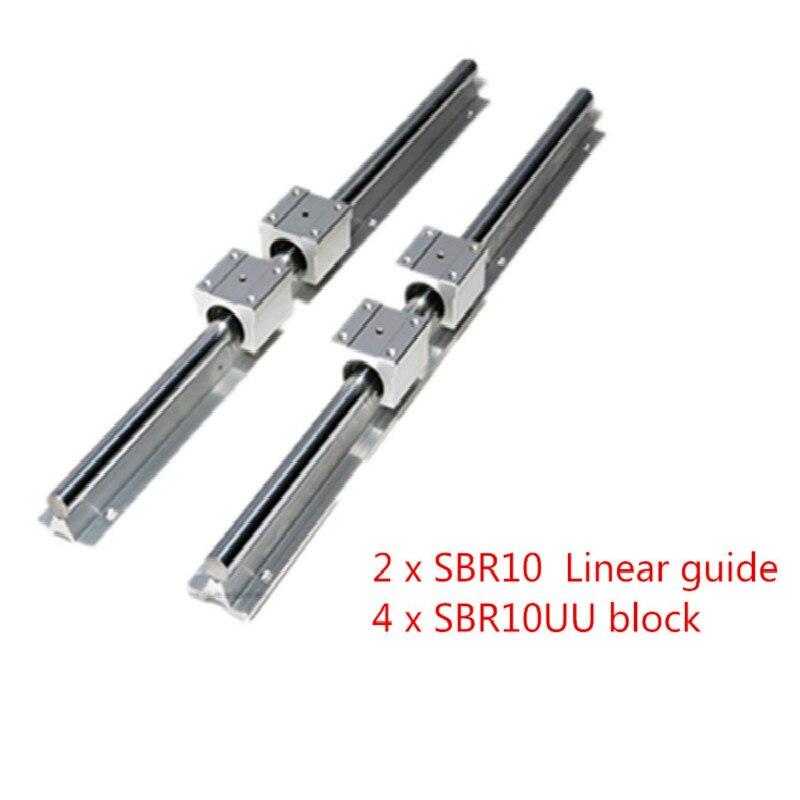 SBR 10 مللي متر خطي السكك الحديدية 2 قطعة SBR10 550 600 650 700 800 900 1000 مللي متر يؤيد تماما الشريحة رمح قضيب دليل مع 4 قطعة SBR10UU كتلة