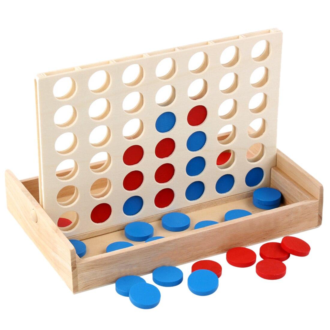 Ajedrez en 3D de madera para niños cuatro en una fila ajedrez de cuatro juegos educativo juguete para juego de mesa Montessori juguetes para niños educación temprana