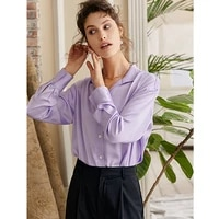 blouse women simple design 100 silk turn down collar long sleeves solid 2 colors shirt ladies new fashion