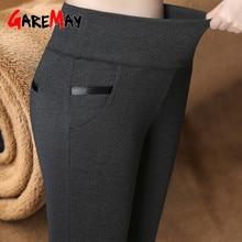 GareMay, pantalones cálidos de Invierno para mujer, pantalones gruesos de terciopelo, cintura alta, elásticos de mediana edad, Pantalones rectos elásticos para madre, de talla grande 5XL