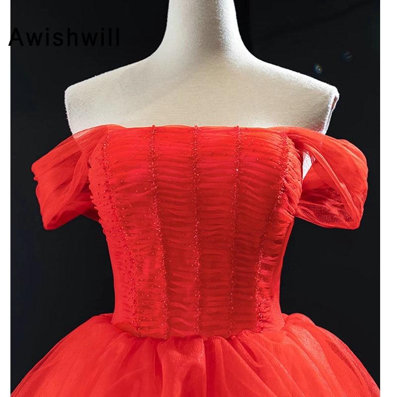 New Off The Shoulder Prom Dress Special Occasion A Line Tulle Beading Formal Party Dress Women Vestidos Longos de Festa