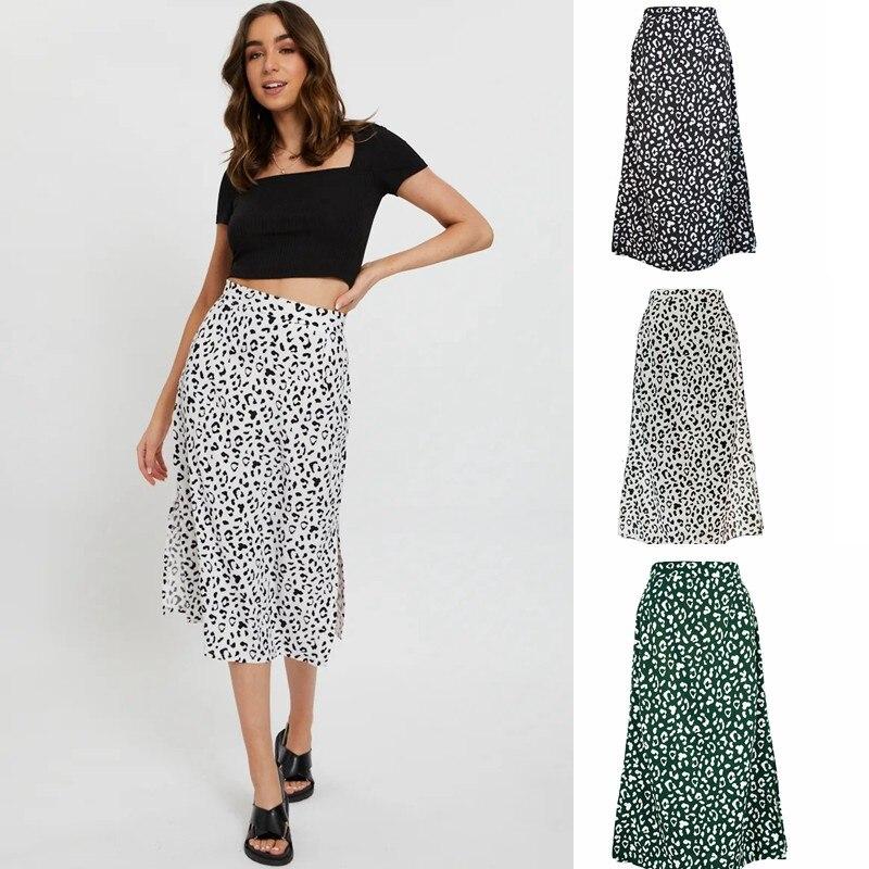 Женская шифоновая юбка с леопардовым принтом, длинная повседневная юбка с разрезом и молнией, весна-лето 2021