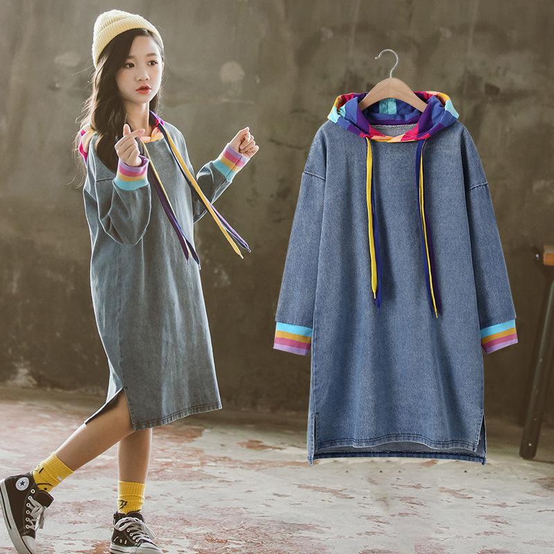 Nueva moda niños niñas Jeans vestido 2020 primavera manga larga Camiseta de mezclilla Dresees 10 12 AÑOS NIÑOS Arco Iris ropa otoño camisetas