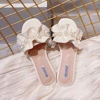 womens summer outdoor sandals ins fashionable 2021 new fashion fairy style sweet pearl flowers flat flip flops