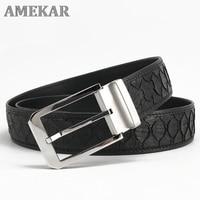 Genuine Snakeskin Leather Belt Men Luxury Python Belt Snake Skin Waist Belts 38mm Stainless Steel Buckle Strap For Suits