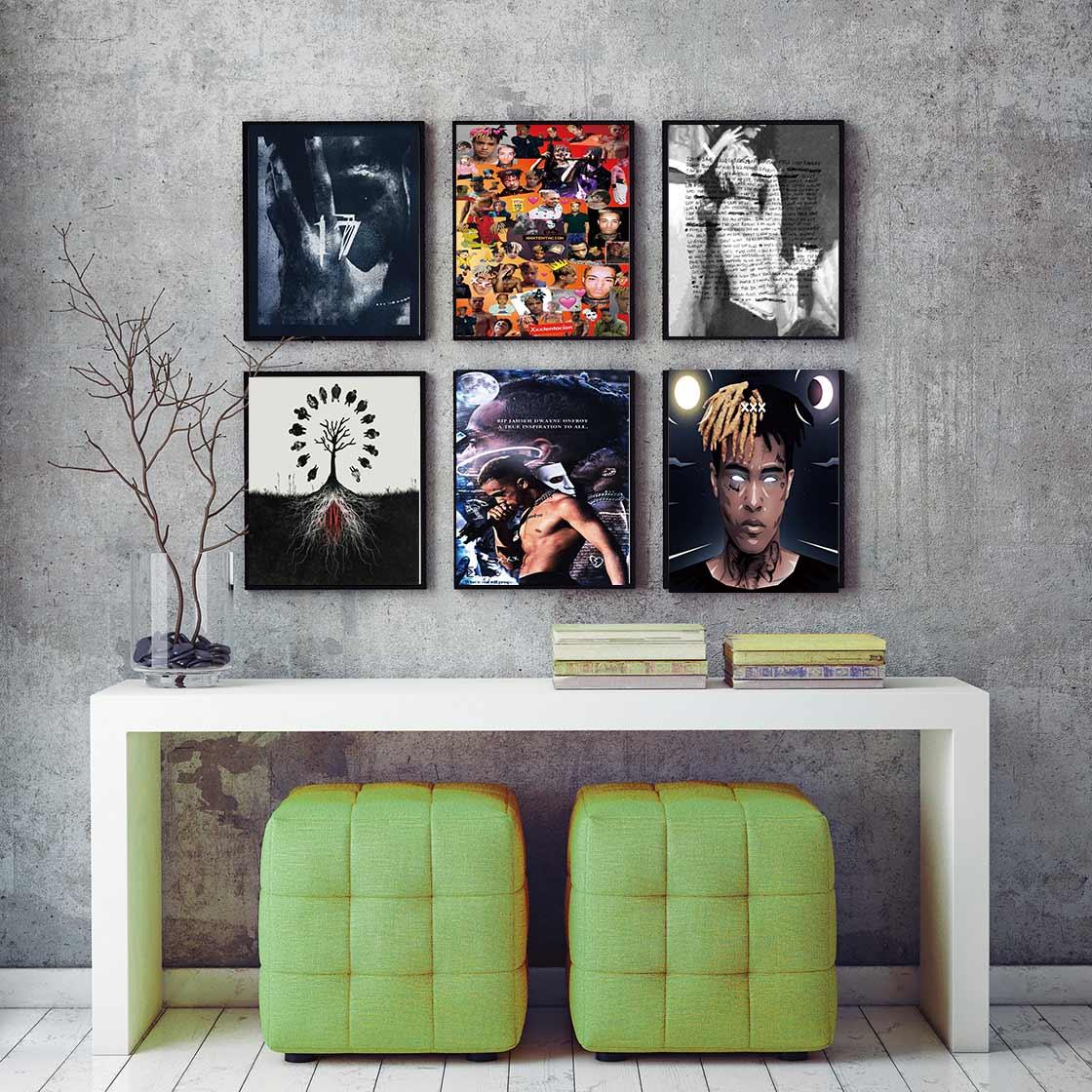 D39 XXXTentacion rapero estrella de hip hop Music Singer arte póster de seda lienzo decoración imprimir cuadros de pared 24x36 27x40