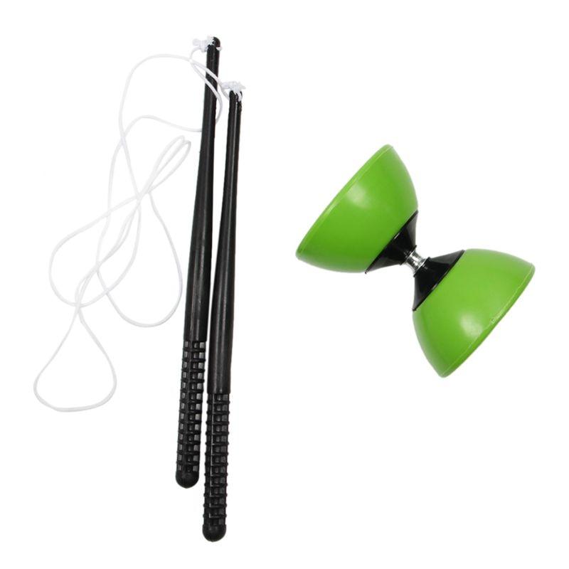 Recipiente de plástico Diabolo malabares Spinning chino Yo juguete clásico con palos de mano verde