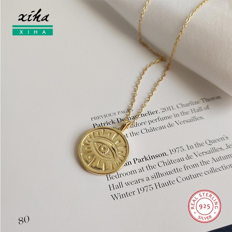 Collar de plata de ley 925 con disco redondo y ojo malvado de Color dorado para mujer, collar bohemio de declaración de plata de ley 2020, joyería gruesa