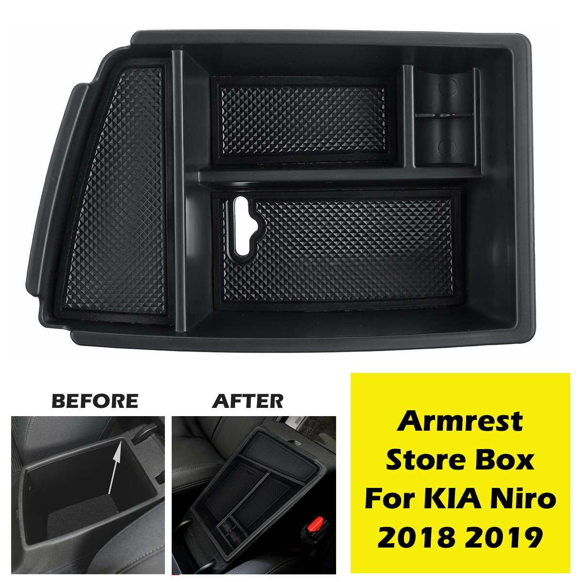 Preto auto interior do carro central apoio de braço caixa armazenamento titular bandeja molduras para kia niro 2018 2019 w/esteiras estiva tidying