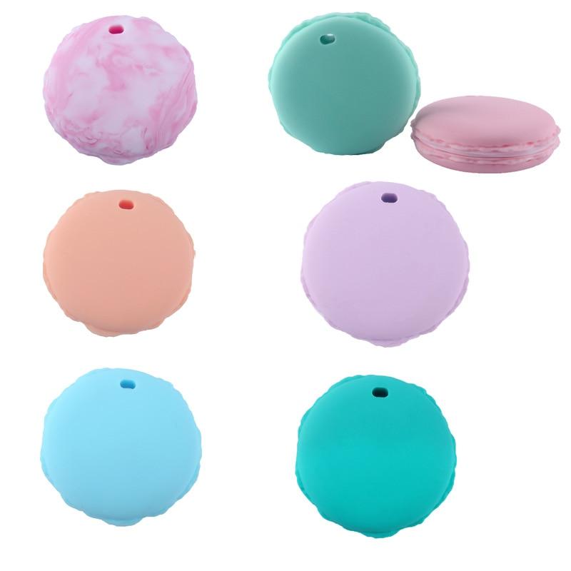 5 piezas de galletas de Macaron bebé mordedor de silicona colgante mordedor para niños bebé DIY juguete pulsera collar