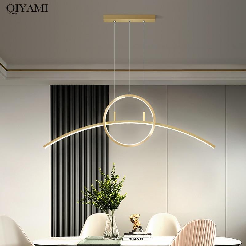 أضواء قلادة حديثة باللون الذهبي والأسود مصباح معلق LED لغرفة الطعام في المطبخ غرفة المعيشة الشمال لوفت ديكو الإضاءة التيار المتناوب 90-260 فولت