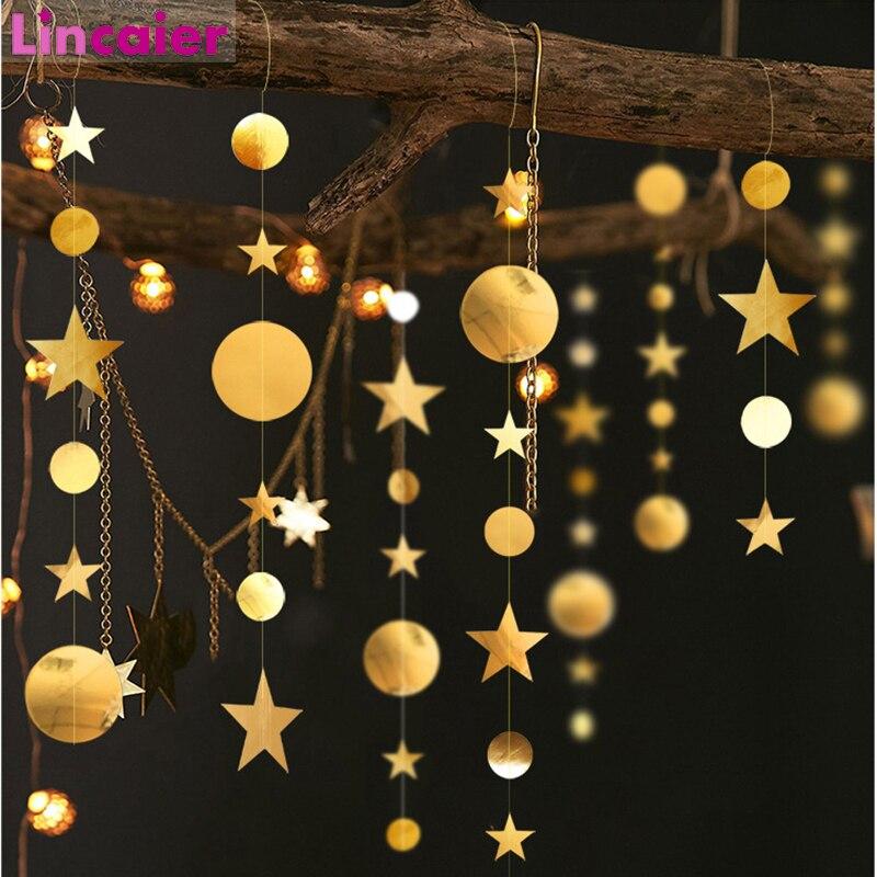 4m oro plata espejo de papel estrella Banner decoración adorno Navidad para el hogar árbol guirnalda decoraciones Feliz Año Nuevo 2020 víspera
