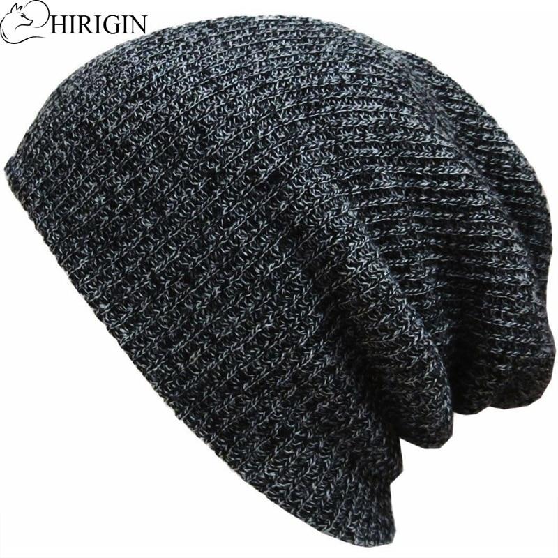 HIRIGIN, Осень-зима 2019, мужская и женская шапка с сутулой черепом, большая длинная шапка, мешковатая шапка, вязаная крючком шапка, лыжная шапка у...