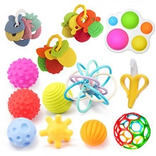 Baby Toys 0 12 Months Soft Silicone Teether Toys Baby Rattle Infant Toys Ball BPA Free Teething Toys