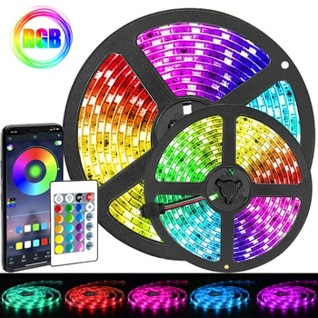 Led Strip Lights Bluetooth Control RGB 5050 Luces Lamp Diode Decoration To Room Suitable For Christmas Party Bedroom Computer TV