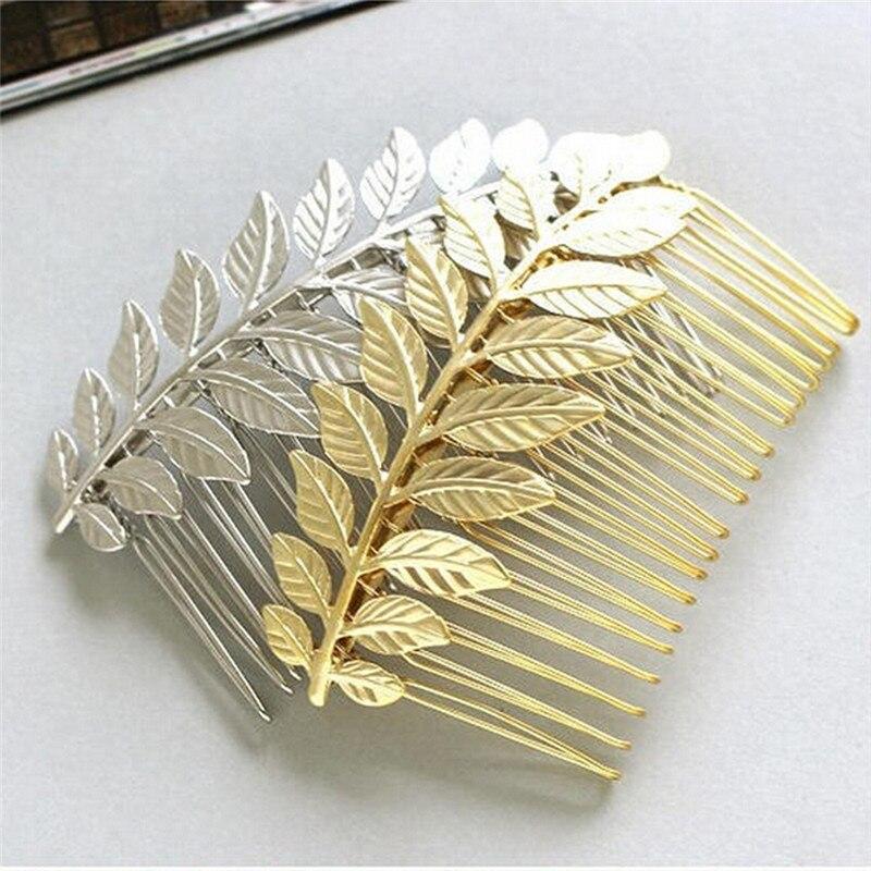 Novo estilo de jóias de cabelo individual ouro-cor prata cor folha pente de cabelo acessórios para cabelo de casamento para a moda senhora