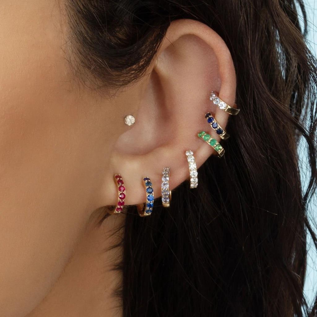Simples pequenos huggies hoop brincos feminino multicolorido cz zircão clássico minúsculo orelha piercing cartilagem jóias boho aros 2020 novo
