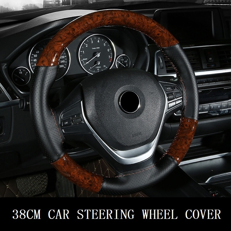38CM Wooden Pattern Steering Wheel Cover Universal Braiding Leather Car Wheel Cover Sports Style Covers For Steering Wheel