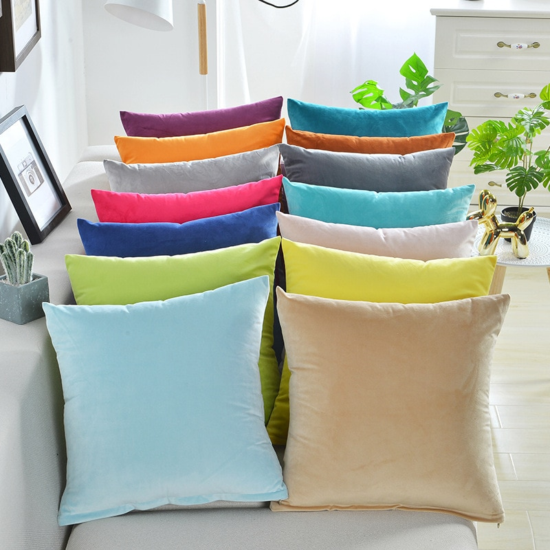Solid Velvet Pillow Cushion Cover Home New Year Decorative 40*40/45*45/50*50/55*55/60*60cm Kussenhoe