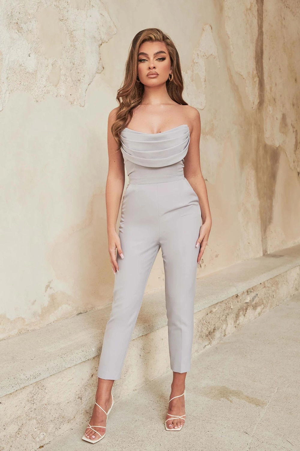Lace Up Sleeveless Ladies Casual Bodycon Clothing Women Flare Pants Jumpsuit Sets