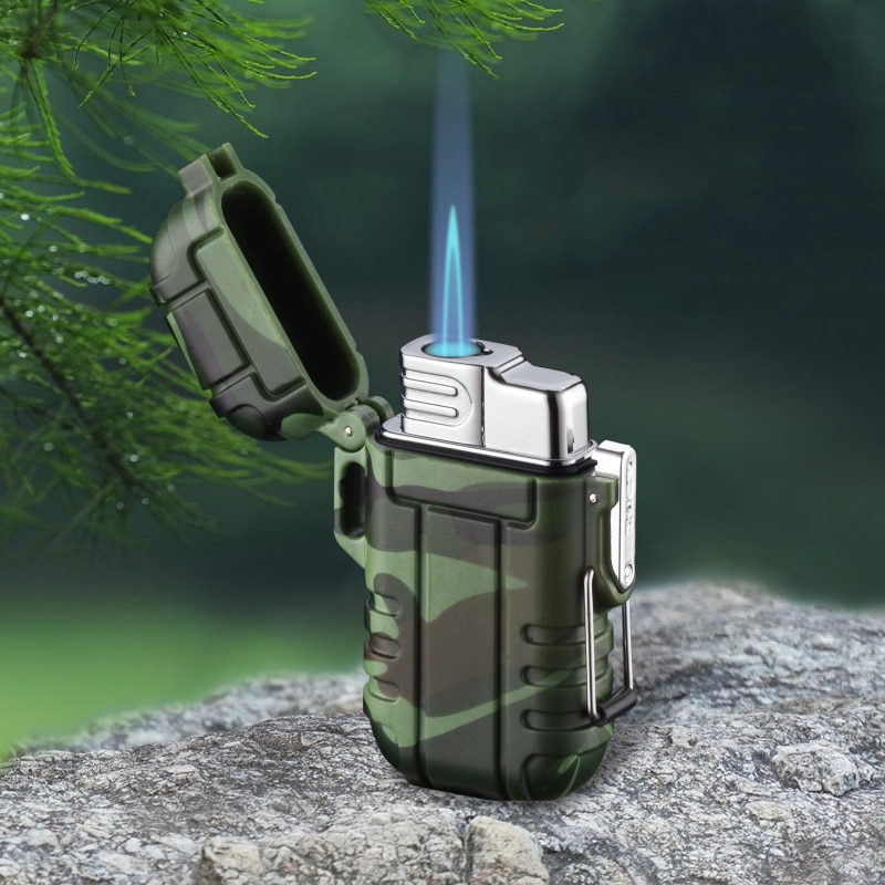 Windpoof Waterproof 2 or  1 jets Gas Lighter For Outdoor Camping Sports Butane refuelable Cigarette Lighters For Smoking GL034X enlarge
